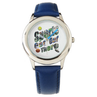 Sports Get Out There Picture Logo, Kids Leather Watch