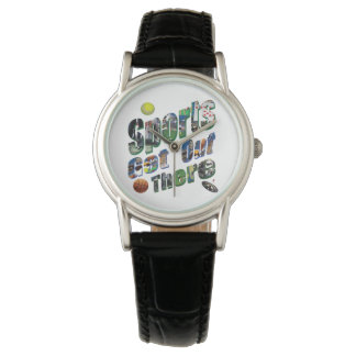 Sports Get Out There Picture Logo, Ladies Leather Watch