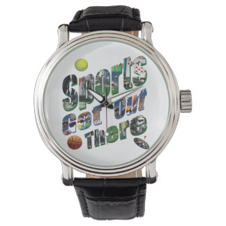 Sports Get Out There Picture Logo, Mens Leather Watch