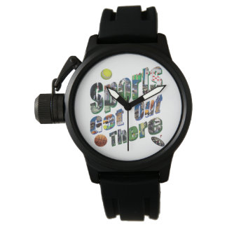 Sports Get Out There Picture Logo, Mens Rubber Watch
