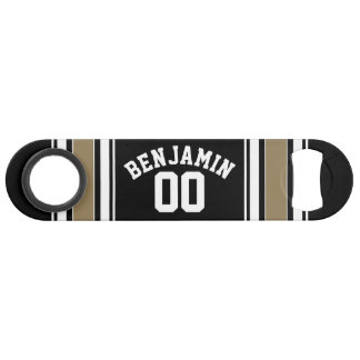 Sports Jersey Black and Gold Stripes Name Number Bar Key