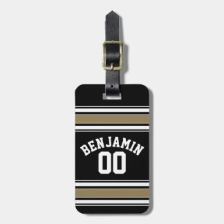 Sports Jersey Black and Gold Stripes Name Number Luggage Tag