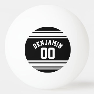 Sports Jersey Black and White Stripes Name Number Ping Pong Ball