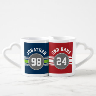 Sports Jersey Blue and Gray Stripes Name Number Coffee Mug Set