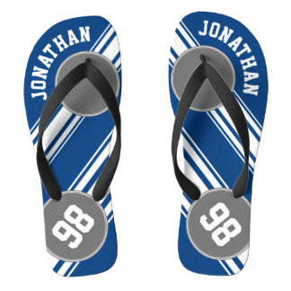 Sports Jersey Blue and Gray Stripes Name Number Flip Flops