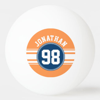 Sports Jersey Blue and Orange Stripes Name Number Ping Pong Ball