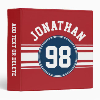 Sports Jersey Navy Blue & Red Stripes Name Number Binders