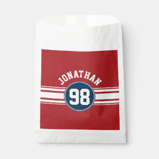 Sports Jersey Navy Blue & Red Stripes Name Number Favour Bag