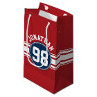 Sports Jersey Navy Blue & Red Stripes Name Number Small Gift Bag