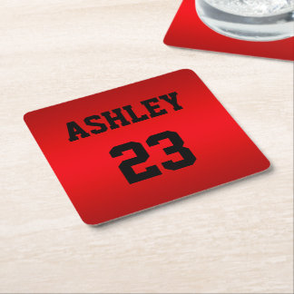 Sports Jersey Number and Name Red Personalized Square Paper Coaster
