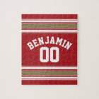 Sports Jersey Red and Gold Stripes Name Number Jigsaw Puzzle