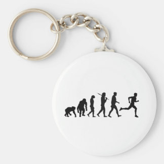Sports Keyrings - Running Runners Evolution Basic Round Button Keychain