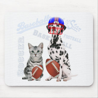 Sports Loving Cat and Dog Football Theme Mouse Pad