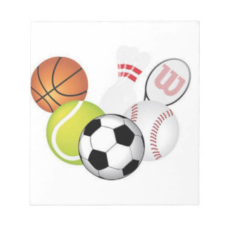 Sports Notepad with Soccer, Tennis, Basketball