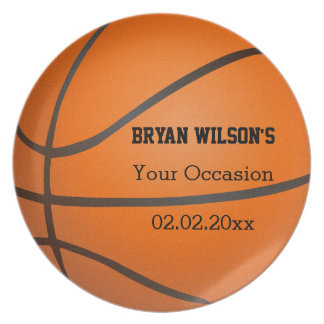 Sports Party Basketball theme Personalized Plate