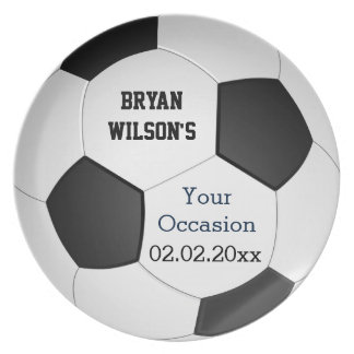 Sports Party Soccer theme Personalized Plate