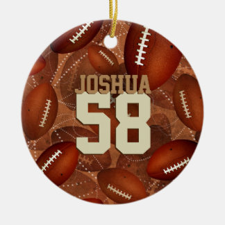 Sports pattern Footballz! his name jersey number Ceramic Ornament
