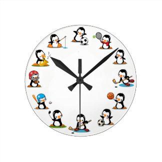 Sports Penguins Round Clock