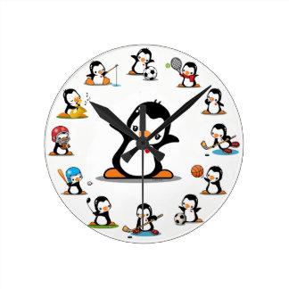 Sports Penguins Wall Clock