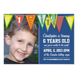 Sports Pennants Boys Birthday Invitation