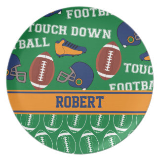 SPORTS Personalize Football Pattern for Children Dinner Plate