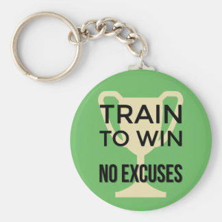 Sports quote train to win motivational basic round button keychain