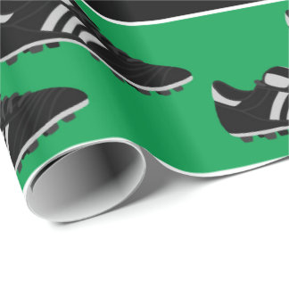 Sports soccer ball shoes pattern party wrap wrapping paper