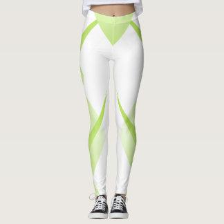 Sports Sporty Lime White Chic Geometric Modern Leggings