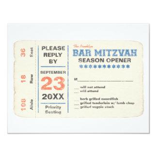Sports Star Bar Mitzvah Reply Card w/dinner, Blue