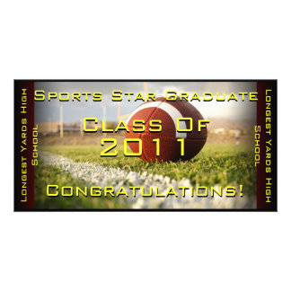 Sports Star (Football) - Graduation Card Photo Card Template