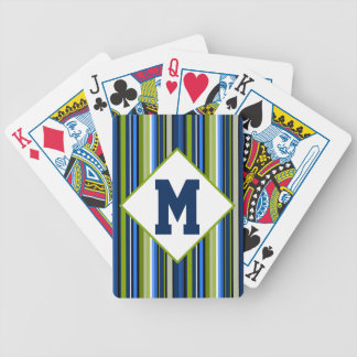 Sports Stripe Blue and Green Bicycle Playing Cards