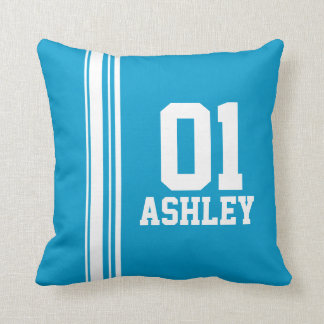 Sports stripe white blue name age or number pillow