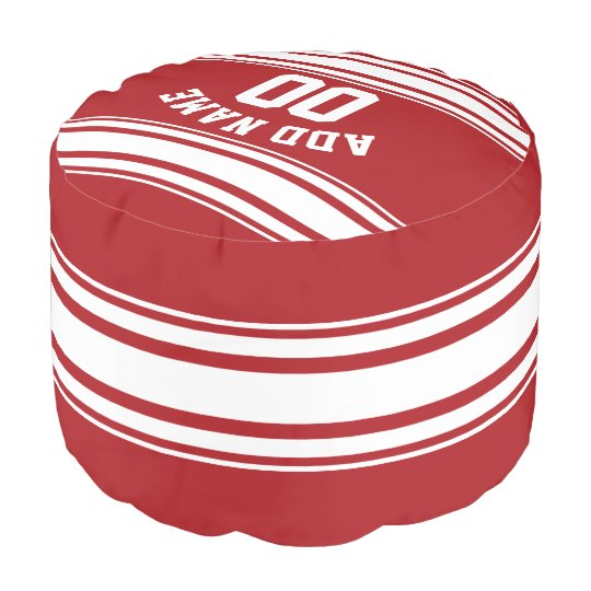 Sports Striped Jersey with Custom Name Number Pouf