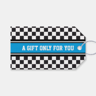 SPORTS STRIPES - Cyan Black White + your text Pack Of Gift Tags