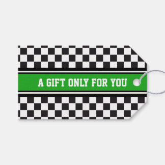 SPORTS STRIPES - Green Black White + your text Pack Of Gift Tags