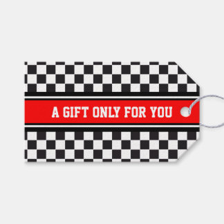 SPORTS STRIPES - Red Black White + your text Pack Of Gift Tags