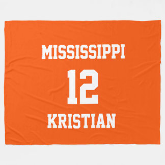 Sports Team Fan Personalized Tangelo Fleece Blanket