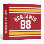Sports Team Football Jersey Custom Name Number Binder