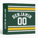 Sports Team Football Jersey Custom Name Number Vinyl Binders