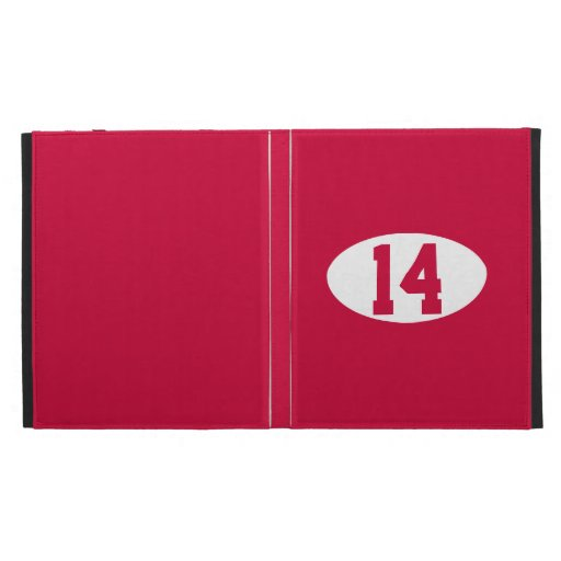 Sports team player number on custom color iPad folio cover