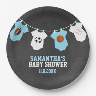 Sports Theme Chalkboard Blue Boy Baby Shower Paper Plate