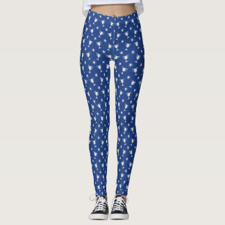 Sports theme trophy stars symbol pattern blue leggings