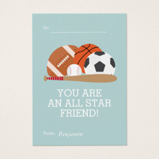 Sports-Themed Kids Classroom Valentines Business Card