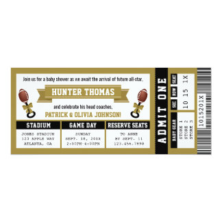 Sports Ticket Baby Shower Invitation, Black, Gold Card
