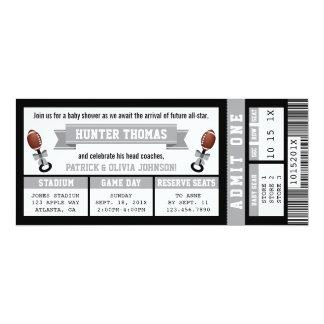 Sports Ticket Baby Shower Invitation, Black, Gray Card