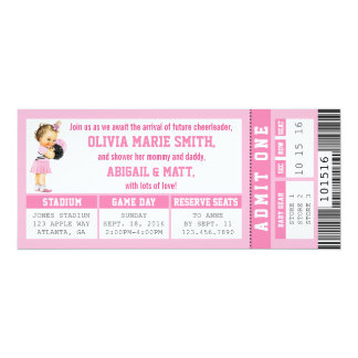 Sports Ticket Baby Shower Invitation, Girl, Pink Card