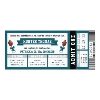 Sports Ticket Baby Shower Invitation, Green, Grey Card