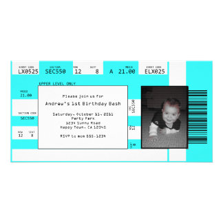 Sports Ticket Invite CHOOSE YOUR BACKGROUND COLOR Photo Card Template