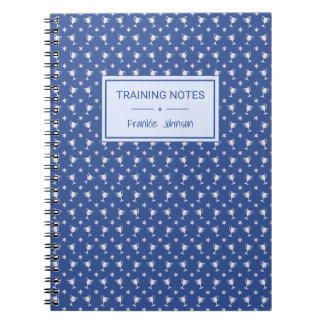Sports trophy patterned blue training notebook