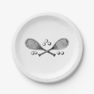 Sports Vintage Crossed Tennis Rackets Tennis Balls 7 Inch Paper Plate